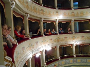 2013 Students visiting Amelia's Historic Theatre - Photo by Mink Boyce