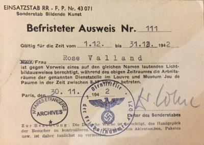 Rose Valland Ausweis 1942